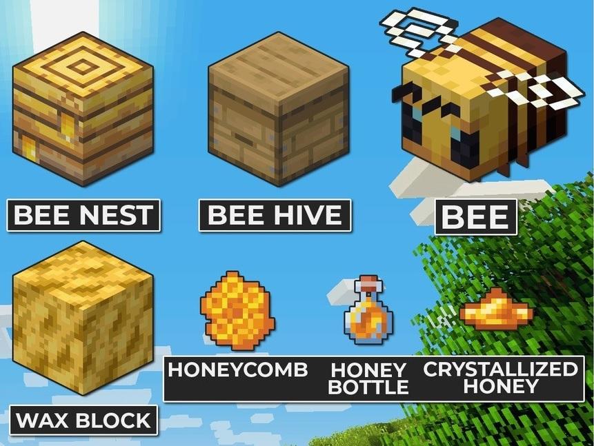 objetos y abejas de la snapshot 19w34a