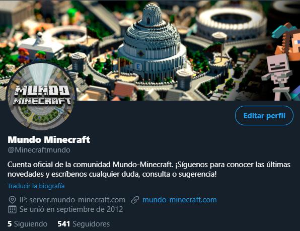 cuenta de twitter de mundo minecraft